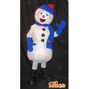 Mascotte de bonhomme de neige, déguisé avec ensemble hiver bleu