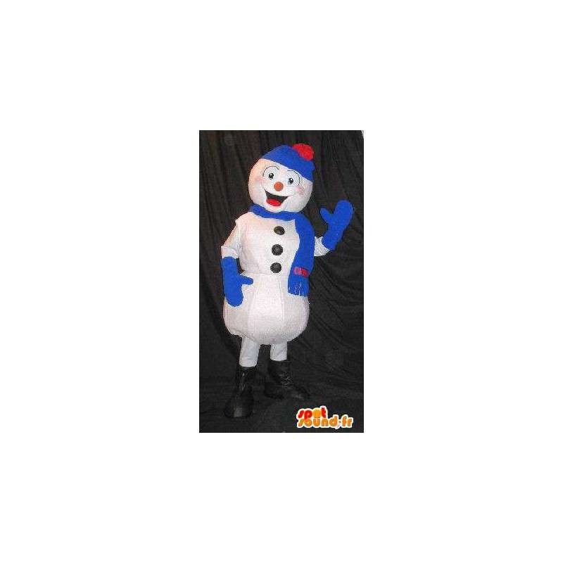 Mascot snowman, all dressed with winter blue - MASFR001582 - Human mascots