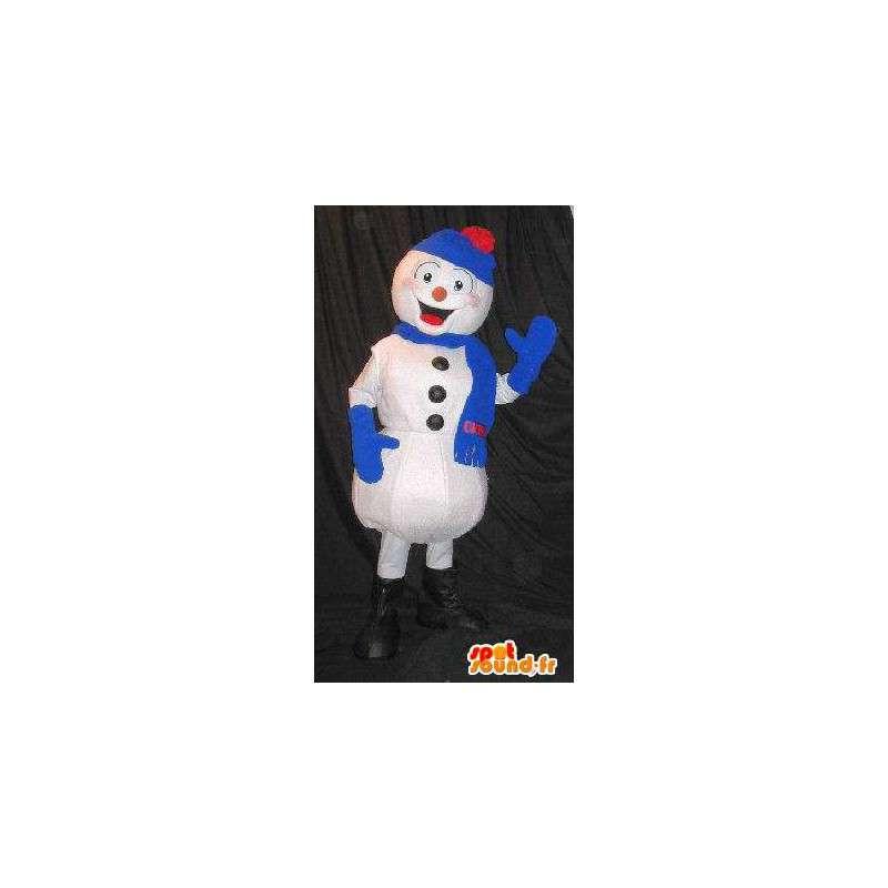 Maskottchen-Schneemann alle mit blauen Winter gekleidet - MASFR001582 - Menschliche Maskottchen