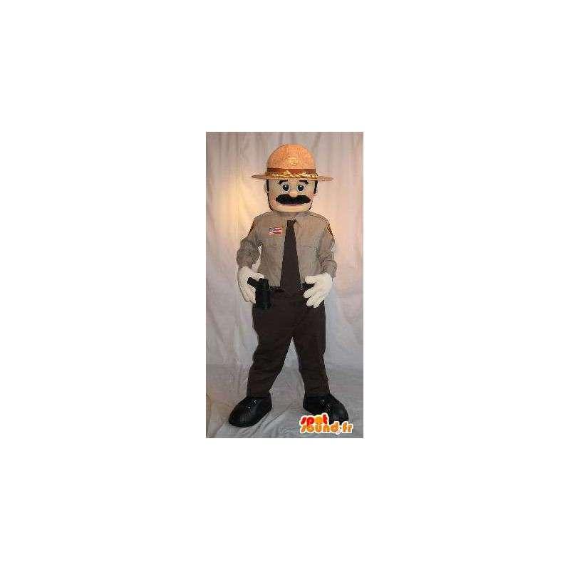 Mascotte de policier américain avec pistolet et chapeau - MASFR001583 - Mascottes Homme
