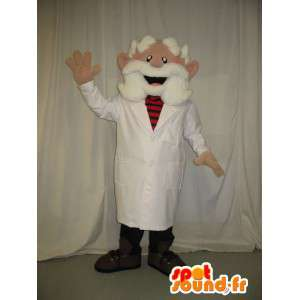 Mascot viejo médico que llevaba una barba blanca