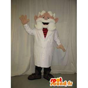 Maskotka stary lekarz ubrany w białą brodę