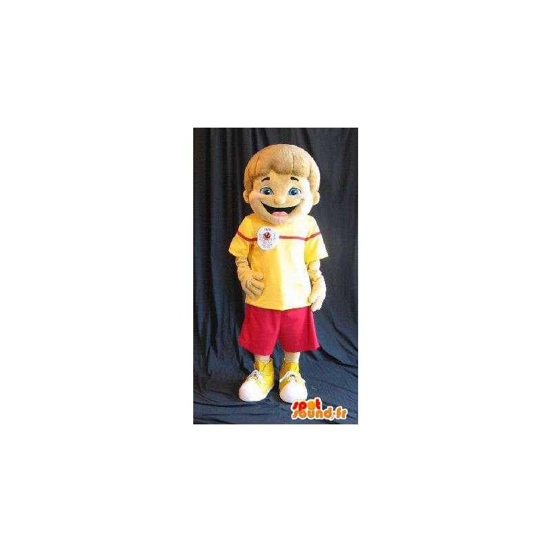 Mascotte d'un jeune garçon en tenue estivale rouge et jaune - MASFR001585 - Mascottes Garçons et Filles