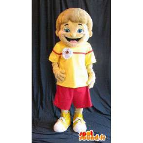 Mascot of a young boy dressed in red and yellow summer - MASFR001585 - Mascots boys and girls