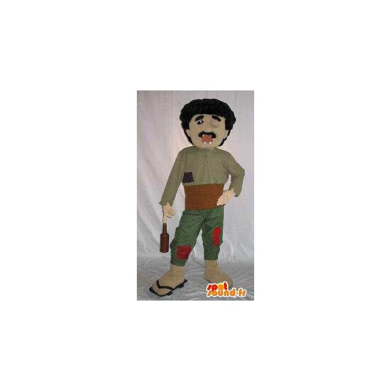 Kostüm eines blinden alkoholische Charakter mit kaputten Zähnen - MASFR001586 - Menschliche Maskottchen