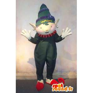 Mascotte con il suo bambino elfo verde pagliaccetto