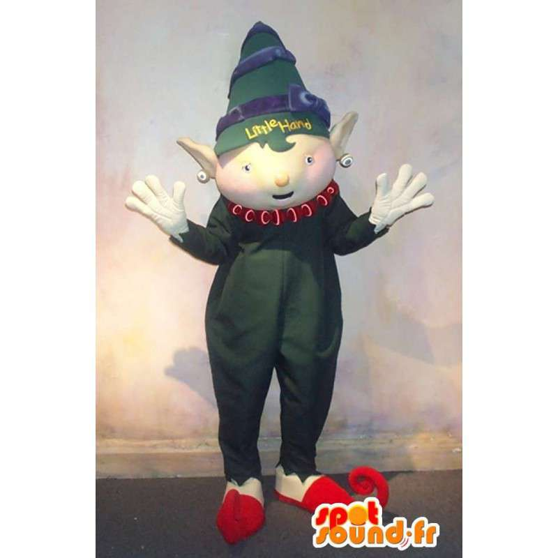 Mascot with her baby elf green romper - MASFR001592 - Mascots baby