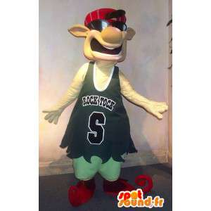 A basketball mascot character to look hip-hop star