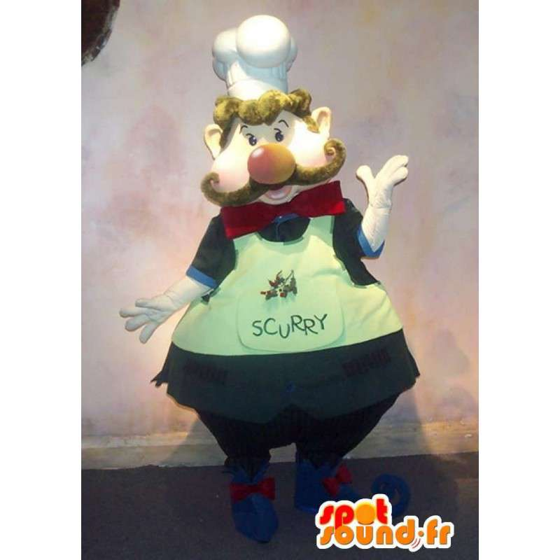 Mascotte de cuisinier, portant fièrement le nœud papillon. - MASFR001596 - Mascottes Papillon