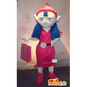Maskottchen eines Elfen als Rotkäppchen verkleidet
