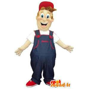 Mascot a mover in overalls and cap
