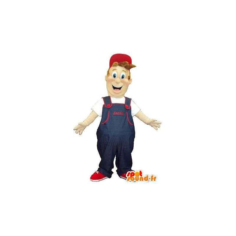 Mascotte d'un déménageur en salopette et casquette - MASFR001598 - Mascottes Homme