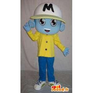 Alien mascotte blu, vestito sportivo