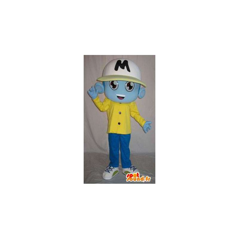 Blå främmande maskot, i sportkläder - Spotsound maskot