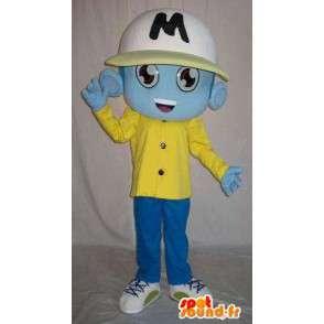 Blå alien maskot, kledd sports - MASFR001600 - sport maskot