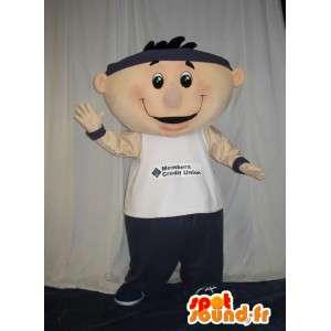 Mascot un hombre amable y jovial en traje casual