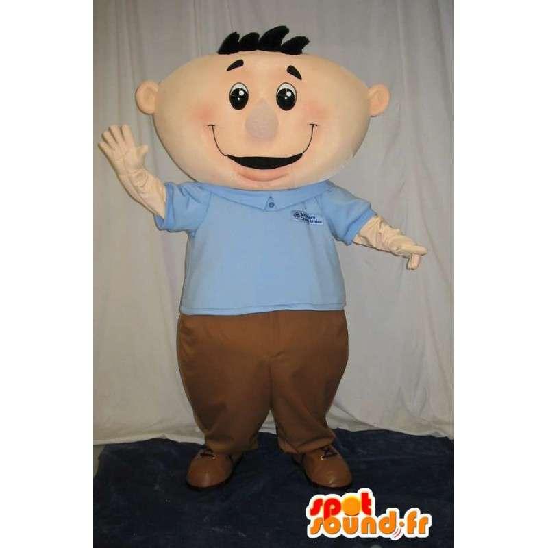 Mascotte d'un bonhomme sympa et jovial en habit BCBG - MASFR001604 - Mascottes Homme