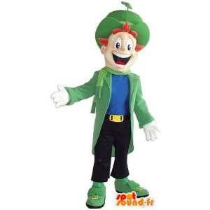 Mascot av en mann kledd utstillingsdukke med klasse