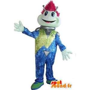 Alien mascotte gek, disco kostuum, psychedelische.