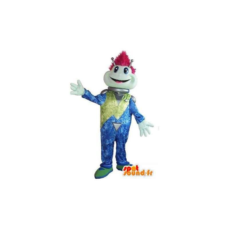 Alien mascotte gek, disco kostuum, psychedelische. - MASFR001609 - uitgestorven dieren Mascottes