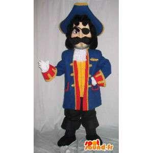 Pirat maskotka mężczyzna, niebieski kombinezon i akcesoria
