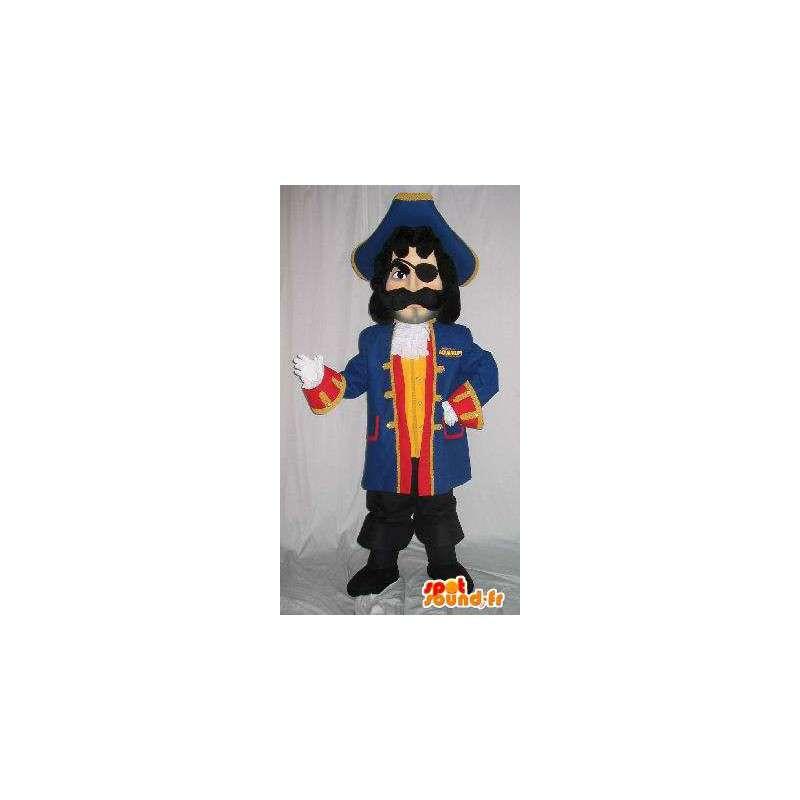 Pirate Mascot muž, modrý oblek a příslušenství - MASFR001614 - Man Maskoti