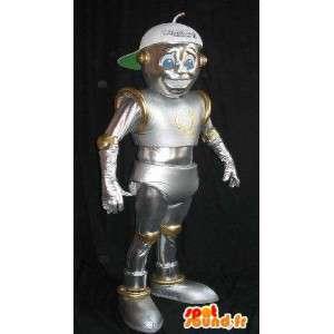 I-robot maskot, skinnende robot drakt