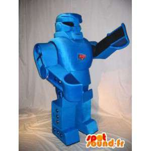 Transforming robot mascot, blue metal