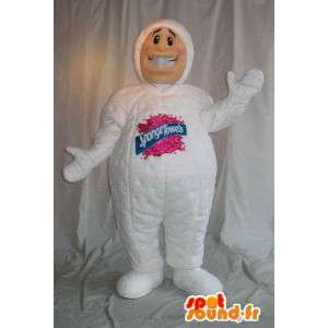 Μασκότ σφουγγάρι άνθρωπος, πετσέτες σπογγίζων