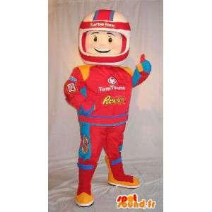 Formel 1 pilot maskot, i rød jumpsuit - Spotsound maskot