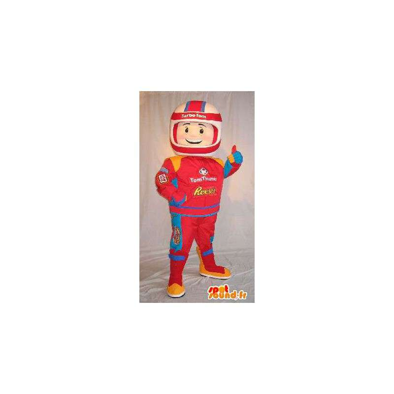 Mascot Formula 1 driver in red suit - MASFR001627 - Sports mascot