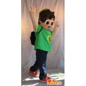 Mascot joven mochila colegial en su espalda