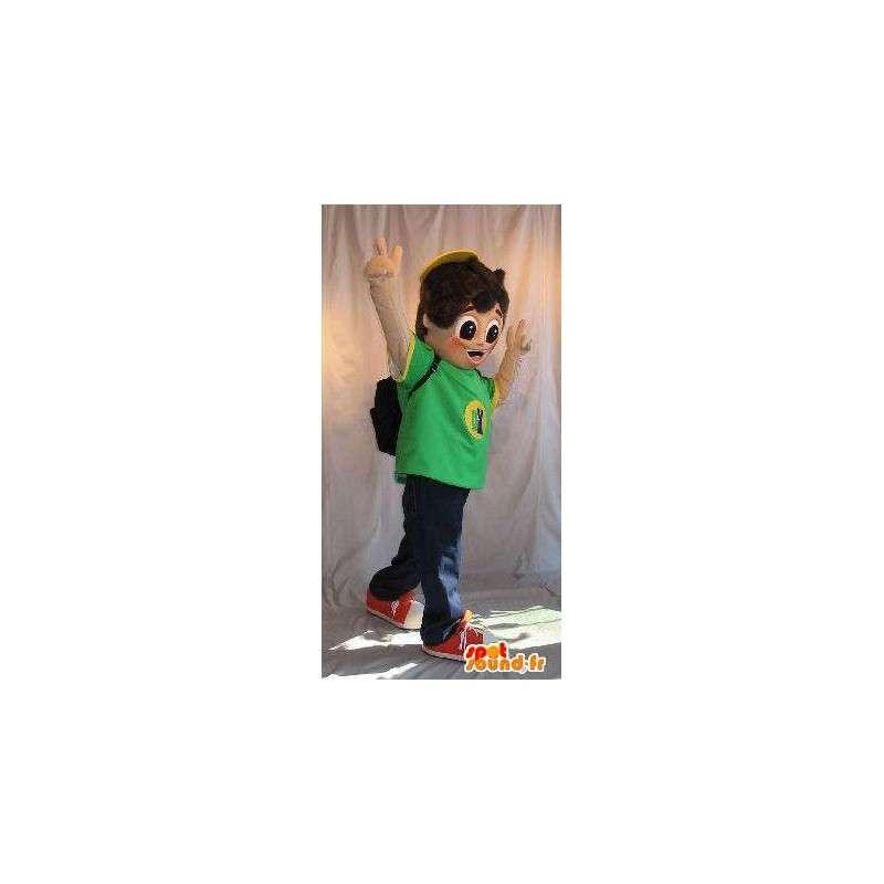 Mascotte jonge school tas op zijn rug - MASFR001624 - Mascottes Boys and Girls