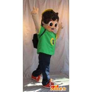 Mascotte de jeune écolier, cartable sur le dos - MASFR001624 - Mascottes Garçons et Filles