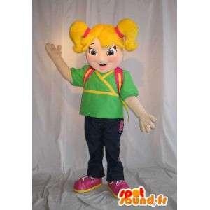 Mascot schoolmeisje, tas op zijn rug