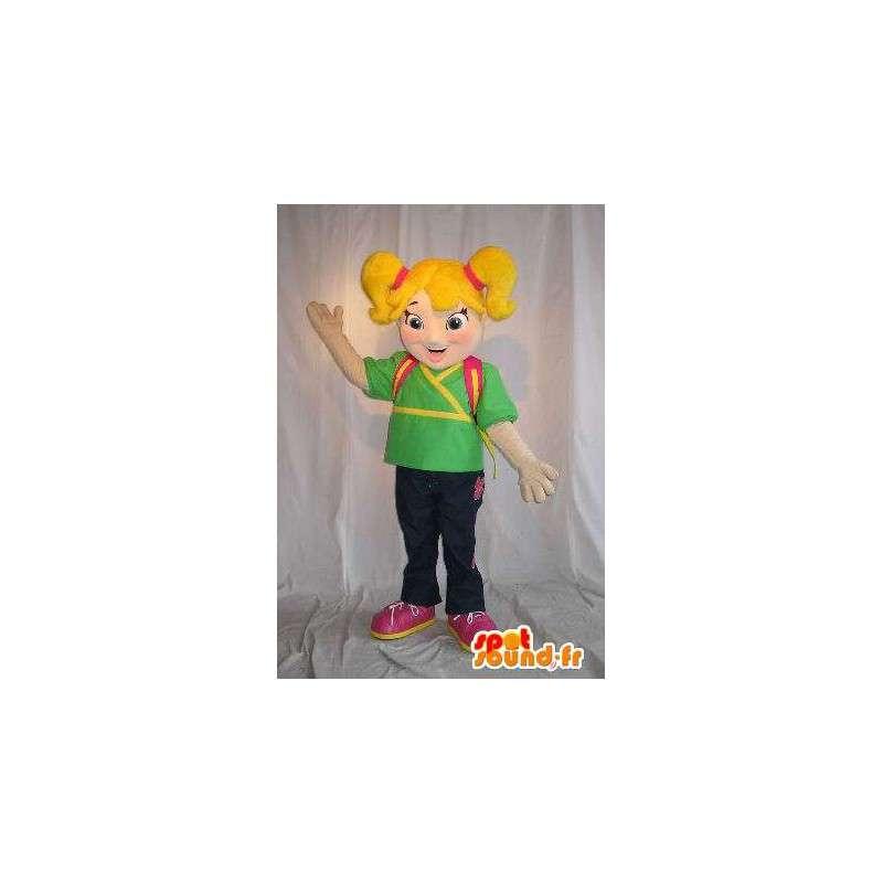 Mascotte de jeune écolière, cartable sur le dos - MASFR001625 - Mascottes Garçons et Filles