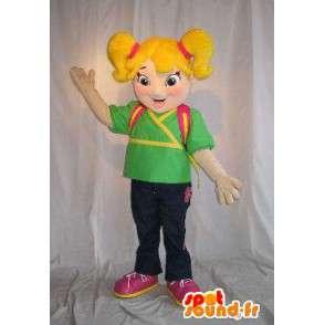 Mascot schoolmeisje, tas op zijn rug - MASFR001625 - Mascottes Boys and Girls