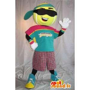 Mascotte de personnage de balle de tennis, déguisement sport
