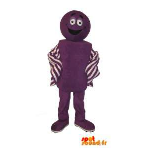 Joviale paars, kleurrijk kostuum mascotte