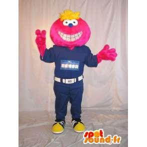 Mascotte de tête souriante, déguisement en combinaison - MASFR001630 - Mascottes non-classées