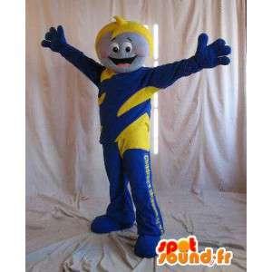 Mascot héroe para los niños, traje de color amarillo y azul