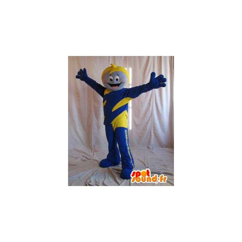 Mascot héroe para los niños, traje de color amarillo y azul - MASFR001639 - Niño de mascotas