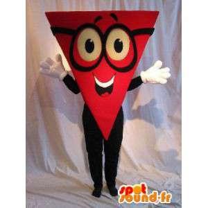 Mascotte de personnage à tête triangle, costume géométrique