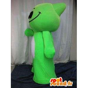 Mascotte de petit monstre vert, déguisement héros de manga