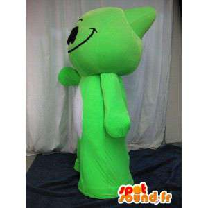 Monstrinho mascote verde, traje herói mangá