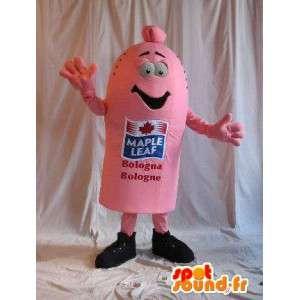 Mascot em forma de salsicha, comida gourmet disfarce