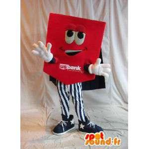 Dobbeltsidet maskot med rødt kort, vendbar forklædning -