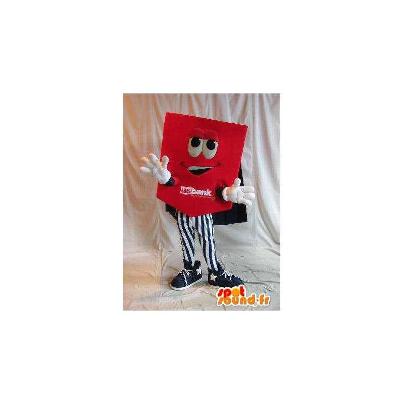 Rode kaart mascotte dubbelzijdig, omkeerbare vermomming - MASFR001644 - mascottes objecten