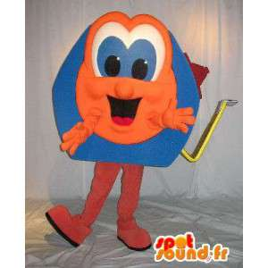 Meter-vormige mascotte oranje en blauw, doe-het-vermomming