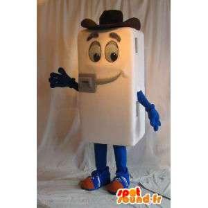 Mascot koelkast, cowboy hoed, keuken vermomming